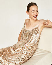ZARA STUDIO Nude Blush Pink Sequin Midi Slip Strappy Dress XS S M L BNWT