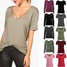Womens Ladies Baggy Short Sleeve Top Round V Neckline Stretchy Basic Tee T shirt