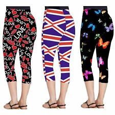 Ladies Plus Size Flag Love Lips Butterfly Print Stretchy Sports 3/4 Leggings8-26