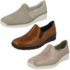 Donna Rieker 53766 Beige, Rosa o pelle Marrone Scarpe Casual Slip-On