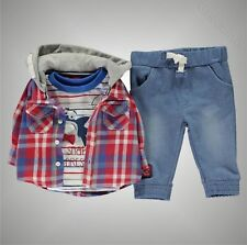 Baby Boys Branded Crafted Stylish Outfit Mini 3 Piece Shirt Set Size 0-24 Mnth