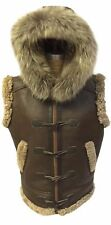 Men's RAF B3 Real Shearling Real Leather Bomber Hooded Vest with Raccoon Fur