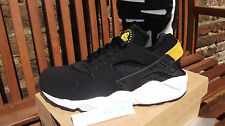 NIKE AIR HUARACHE LE BLACK TOUR YELLOW UK 12 11 10 9 8 7 6 QS OG TRIPLE WHITE