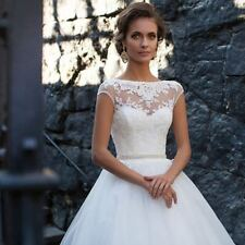 New White/Ivory Lace Wedding Dress Bride Gown Size:6 8 10 12 14 16 18