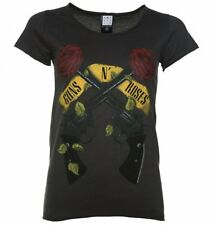 Official Women's Charcoal Guns N' Roses Shooting Roses T-Shirt from Amplified