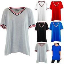 Womens Ladies V Neck Stripes Oversized Short Sleeve Baggy Stretchy T Shirt Top