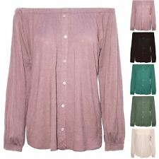 Womens Elastic Front Button Down Off The Shoulder Long Sleeve Bardot Ladies Top