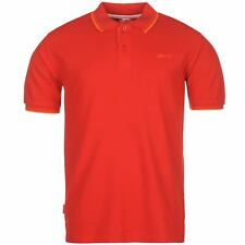 New Slazenger Men's Tipped Cotton Polo Shirt Tennis Golf Casual S-4XL CHERRY RED