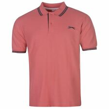 New Slazenger Men's Tipped Cotton Polo Shirt Tennis Golf Casual S-4XL STONE ROSE