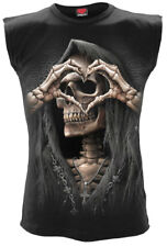 Spiral Dark Love, Sleeveless T-Shirt Black|Reaper|Heart|Death|Celtic