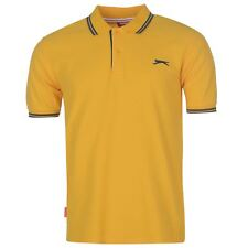 New Slazenger Men's Tipped Cotton Polo Shirt Tennis Golf Casual S-4XL MUSTARD