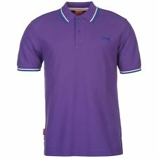 New Slazenger Men's Tipped Cotton Polo Shirt Tennis Golf Casual S-4XL PURPLE