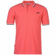 New Slazenger Men's Tipped Cotton Polo Shirt Tennis Golf Casual M-4XL PINK