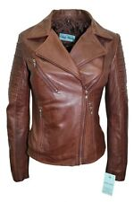 Luxury New Ladies City Jacket Brown Real Soft Nappa Leather Casualm Style Design