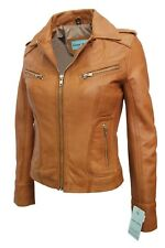 Luxury New Ladies City Jacket Tan Soft Real Nappa Leather Casual Style Design