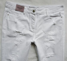 BNWT NEXT white summer Relaxed Boyfit rips High rise tapered leg  jeans 14R 14L