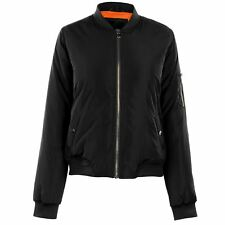LADIES WOMENS GOLDDIGGA BLACK ZIP UP BOMBER JACKET COAT