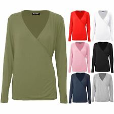 Womens Ladies Front Wrap Over Deep V Neck Baggy Stretchy Long Sleeve Tunic Top