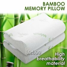 1/2x Pack Luxury Bamboo Memory Foam Fabric Fibre Cover Contour Pillow 50x30cm GY