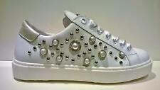 SNEAKERS DONNA GINNICHE PELLE BIANCHE BORCHIE E PERLE MADE IN ITALY -LIFE