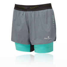 RonHill Womens Infinity Marathon Twin Short Green Grey Sports Running Breathable