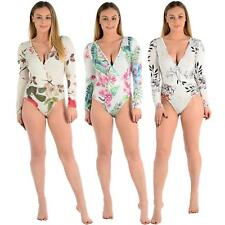 Womens V-neck Plunge Floral Leaf Printed Wrap Over Bodysuit Leotard Top 8-14