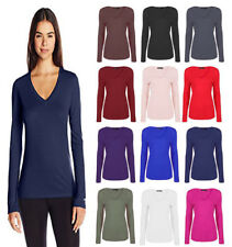 WOMENS LONG SLEEVE T SHIRT V NECK LADIES STRETCHY SPEEDY TOP PLUS SIZE