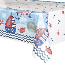 Nautical 1st Birthday Blue Sea Boat Party Plastic Party Table Cover Tablecloth