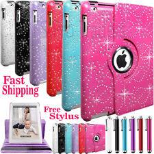 Bling Leather 360°Degree Rotating Stand Case Cover For Apple iPad 5-Air-234-Mini