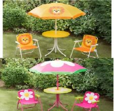 Childrens Garden Furniture Patio Set Kids Table Chairs & Parasol Set