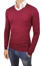 PULL PULL HOMME DIAMOND HIVERNAL ROUGE BORDEAUX PULL EN TRICOT NEUF