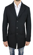 ÉLÉGANT MANTEAU HOMME DIAMOND NOIR HIVERNAL VESTE MANTEAU 100% MADE IN ITALY