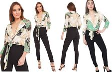 Womens Tailored Paisley Scarf Print Jumpsuit Ladies Plunge Neck Wrap Over Romper