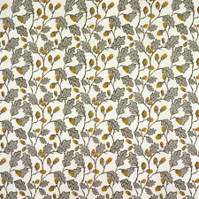 Cream and Grey Acorns and Leaves Oilcloth Wipeclean Tablecloth Sample Available