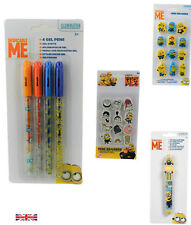 DESPICABLE ME Minion Gel Pens 4 pack Minion Mini  Erasers School Art Stationery