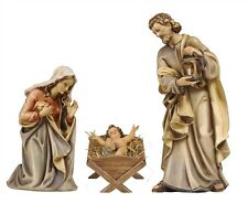 Nativity 3 pcs. statue wood carving, simple manger, for Nativity set mod. 912