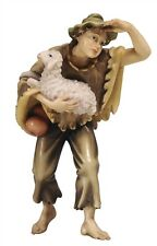 Boy with sheep in his arm, statue wood carving for Nativity set mod. 912