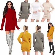New Ladies Long Sleeves Knitted Celeb High EDGE Ruffle POLO NECK Chunky Jumper M
