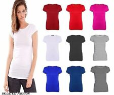 Ladies Short Sleeves Stretch Plain Summer T Shirt Casual New Style Top Plus Size