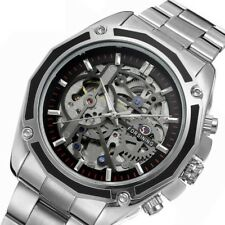 New Waterproof Skeleton Analog Mens Mechanical Automatic Wrist Steel Band Watch