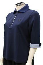 Maglia polo da donna blu Good Match Sport manica 3/4 colletto bottoni casual