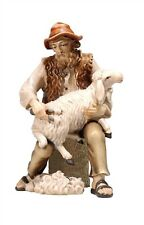 Shepherd sitting with sheep, statue wood carving for Nativity set mod. 912