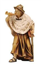 Shepherd with horn, statue wood carving for Nativity set mod. 912