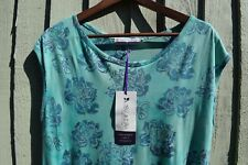 Ibu Indah Green Blue Floral Batik Print Tunic Dress Sleeveless Pockets Ethical
