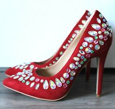 NEW WOMENS LADIES RED HIGH HEEL PROM PARTY  STILETTO COURT SHOES SIZE 3 4 5