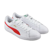 Puma Basket Classic Lfs Mens White Leather Lace Up Sneakers Shoes
