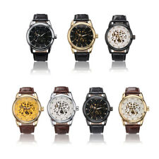 WINNER Men Big Dial Sports Automatic Mechanical Skeleton Leather Band Wristwatch