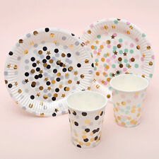 GN- 10Pcs Dots Stars Paper Disposable One-Off Plate Cup Kids Party Tableware Div