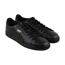 Puma Basket Classic Mens Black Leather Lace Up Sneakers Shoes