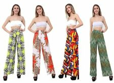 LADIES PRINTED TROUSERS WIDE LEG WOMENS STRETCHY HIGH WAIST PALAZZO PLUS SIZE